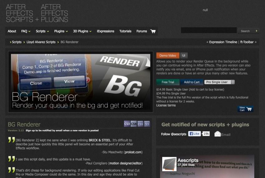 BG Renderer no aescripts shop - 2012