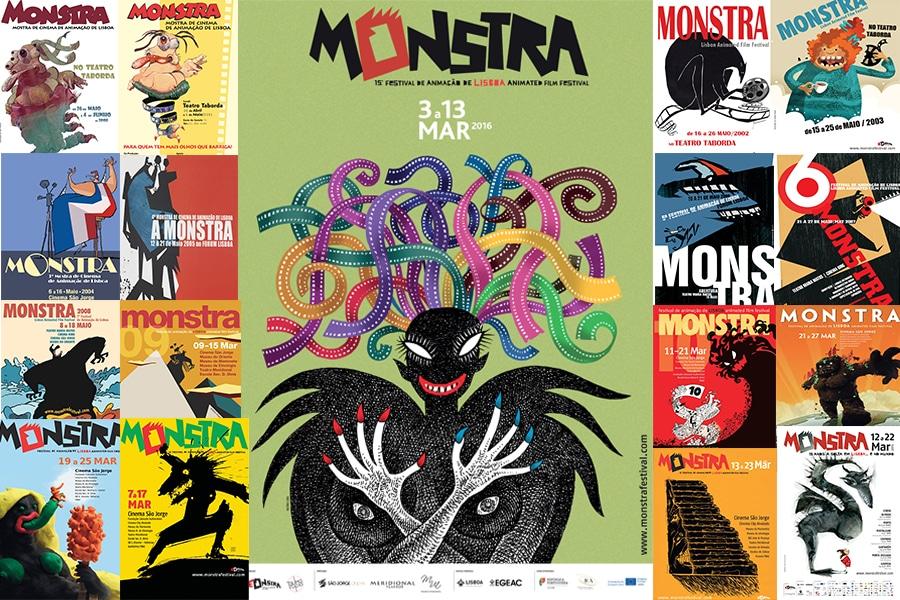 """Cartazes das edições anteriores de """"Monstra""""."""