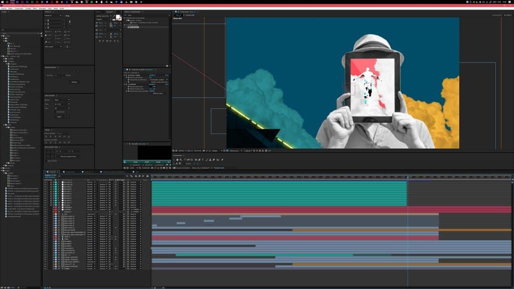 Interface do After Effects em 4K.